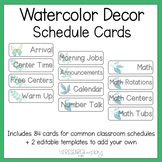 Watercolor Decor Class Schedule Cards