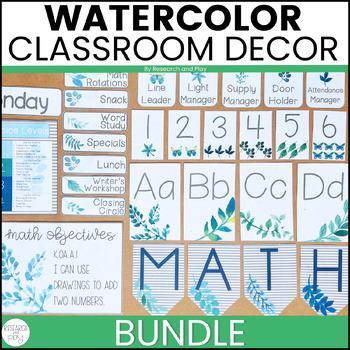 Watercolor Foliage Classroom Decor BUNDLE