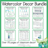 Green and Blue Watercolor Plants Classroom Decor Bundle