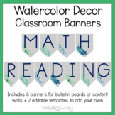 Watercolor Decor Editable Class Banners