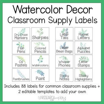 Watercolor Decor Editable Supply Labels