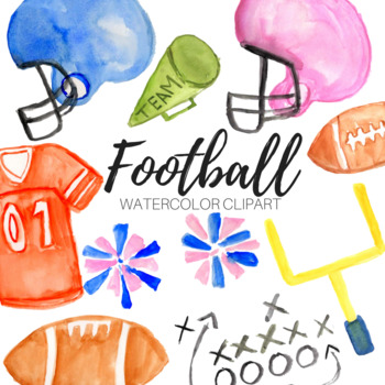 Watercolor Football Clipart Set