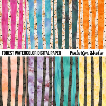 Watercolor Forest Digital Paper