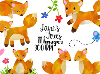 Watercolor Foxes Clipart