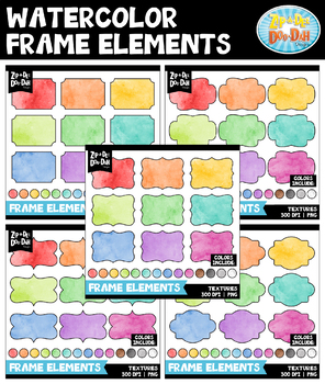 Watercolor Frames Clipart Mega Bundle {Zip-A-Dee-Doo-Dah Designs}
