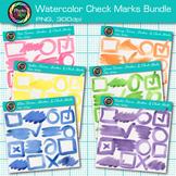 Watercolor Frames, Strokes, & Check Marks Clip Art Bundle