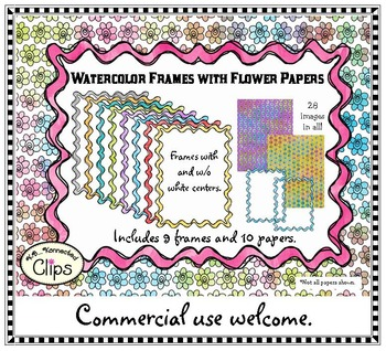 Watercolor Frames and Flower Papers