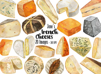Watercolor French Cheeses Clipart