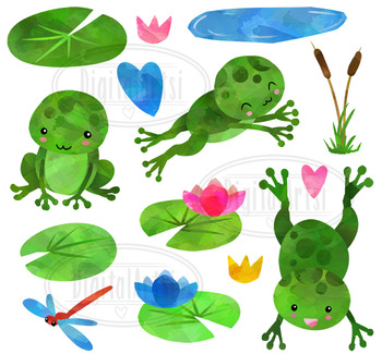 Watercolor Frogs Clipart