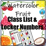 Watercolor Fruit Class Numbers, Word Wall Letters & Posters!