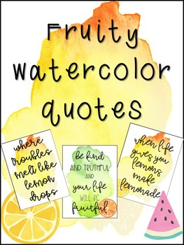 Watercolor Fruit Classroom Signs
