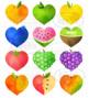 Watercolor Fruit Hearts Clipart