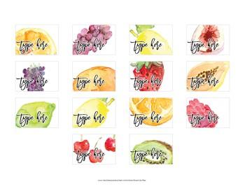 Watercolor Fruit Teacher Toolbox Labels