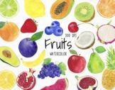 Watercolor Fruits Clipart, Fruits Graphics, Fruits Illustr