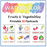 Watercolor Fruits and Vegetable Printable 20 Flashcards, N