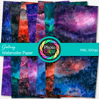 Watercolor Galaxy Scrapbook Paper: Astronomy Backgrounds {Photo Clipz}