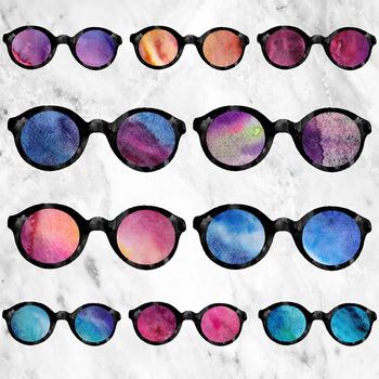 Watercolor Galaxy Sunglasses Clipart, Cosmic Sunglasses