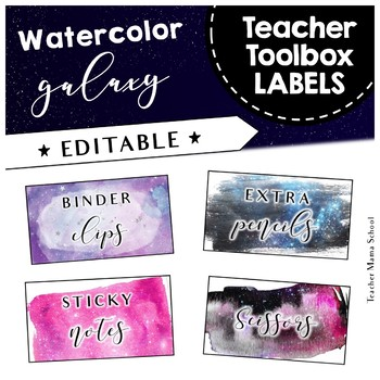 Watercolor Galaxy Theme Teacher Toolbox Labels
