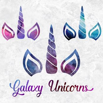 Watercolor Galaxy Unicorn Clipart, Galaxy Unicorn Faces