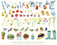 Watercolor Gardener clipart set, garden accessories, birds, flowers, fruits