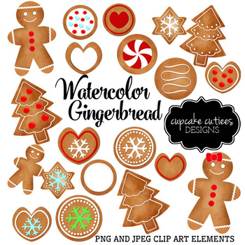 Watercolor Gingerbread Digital Clip Art Designs