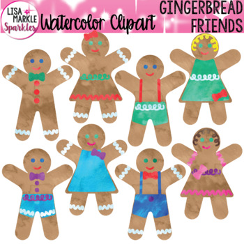 Watercolor Gingerbread Man Cookie Clipart for Christmas and Winter