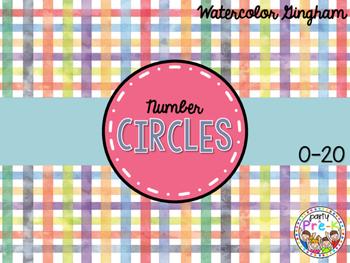 Watercolor Gingham Number Circles 0-20 FREEBIE