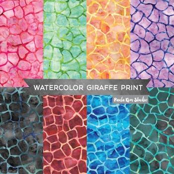 Watercolor Giraffe Print Digital Paper