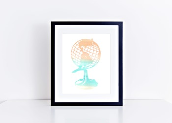 Watercolor Globe Printable in Multiple Colors // Classroom Decor