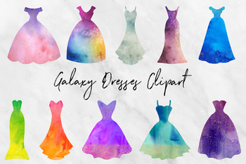 Watercolor & Gold Dresses Clipart