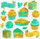 Watercolor Gold and Mint Pastries
