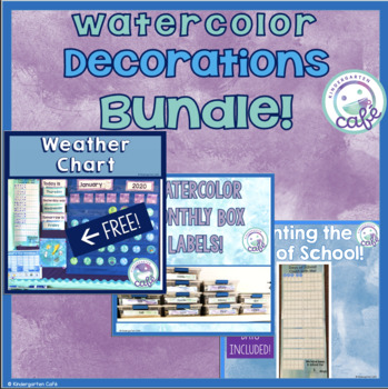 Watercolor (Green/Blue/Purple) Classroom Decoration BUNDLES