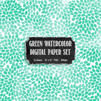 Watercolor Green + White Modern Pattern Digital Papers {Commercial + Personal}