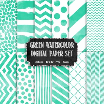 Watercolor Green + White Modern Pattern Digital Papers {Co