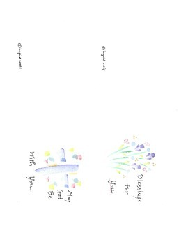 Watercolor Greeting Cards - Blessings for you and May God