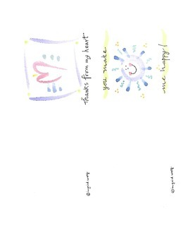 Watercolor Greeting Cards - Thanks from my heart and You make me happy!