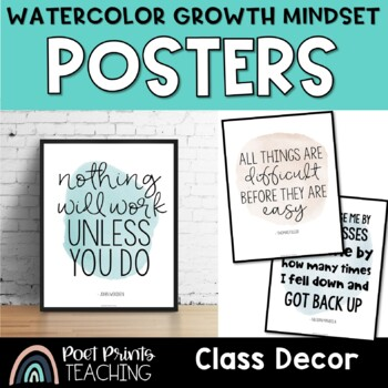 Watercolor Growth Mindset Posters, Inspirational Quotes