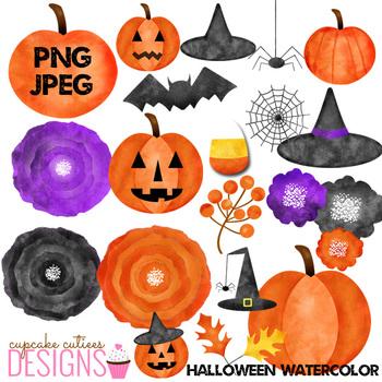 Watercolor Halloween Clip Art Illustration Digital Graphics -Commercial Use