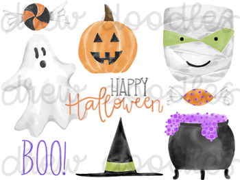 Watercolor Halloween Digital Clip Art Set