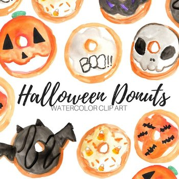 Watercolor Halloween Donuts Clipart
