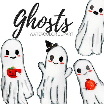 Watercolor Halloween Ghost Clipart