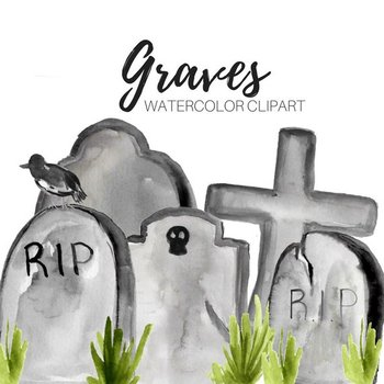 Watercolor Halloween Graves Clipart