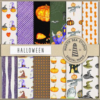 Watercolor Halloween Paper - Halloween Patterns