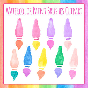 Watercolor Hand Painted Paint Brushes Clip Art Set for Commercial Use