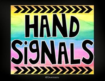 Watercolor Hand Signal Signs (Color Splash Series)-Editable