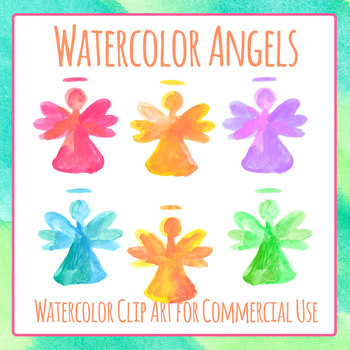 Christmas Angels Images Clip Art.Watercolor Handpainted Christmas Angels Clip Art Set For Commercial Use