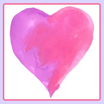 Watercolor Handpainted Hearts for Valentines Day Clip Art Set Commercial Use