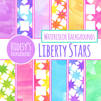 Watercolor Handpainted Liberty Stars Quilt Style Digital Paper / Backgrounds