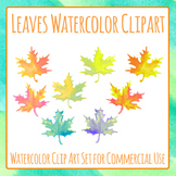 Watercolor Handpainted Maple Fall or Autumn Leaves Clip Art Set Commercial Use