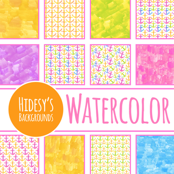 Watercolor Handpainted Nautical Anchors Digital Papers / Backgrounds Clip Art